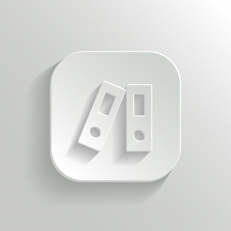 Office folder icon - vector white app button with shadow Vector