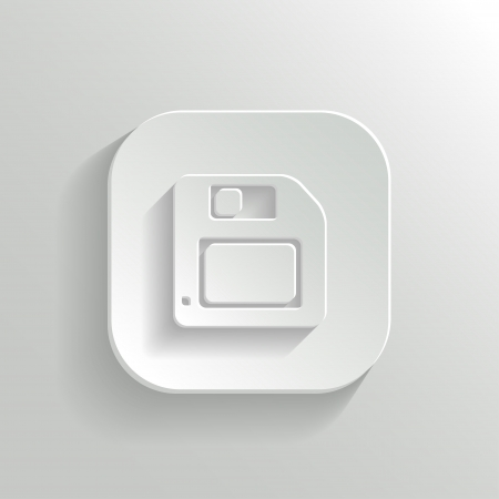 recordable media: Floppy diskette icon - vector white app button with shadow
