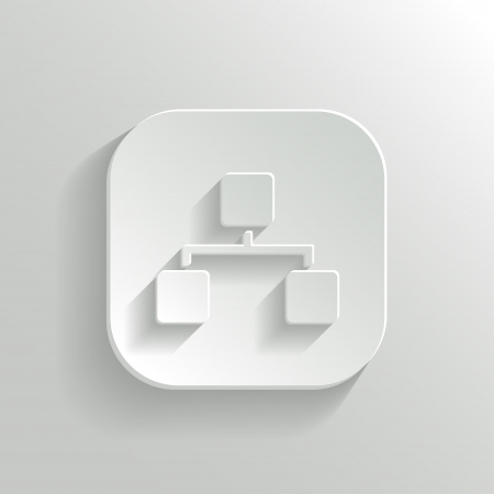 Network icon - vector white app button with shadow
