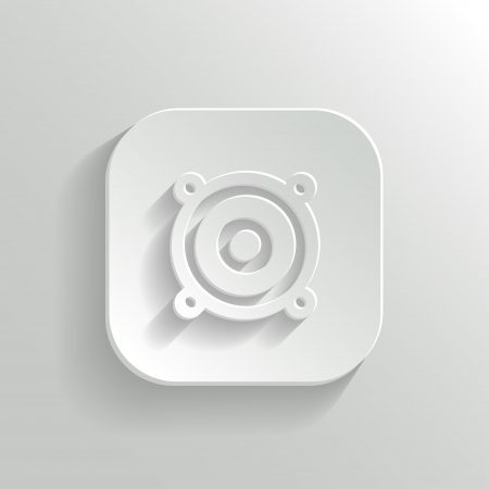 Audio speaker icon - vector white app button with shadow Vector