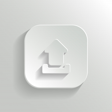 Upload icon - vector white app button with shadow