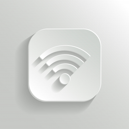 connection icon - vector white app button with shadow Vector
