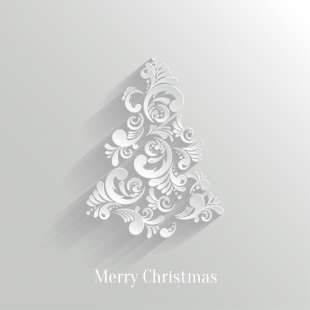 christmas decorations with white background: Absrtact Floral Christmas Tree Background, Trendy Design Template Illustration