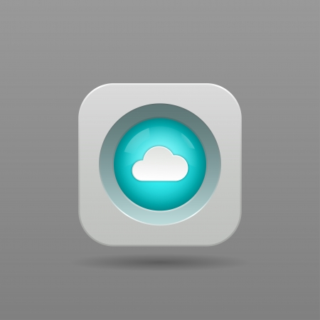 3d button: Cloud Button - Vector App Icon