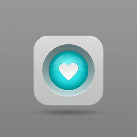 Heart Button - Vector App Icon Vector