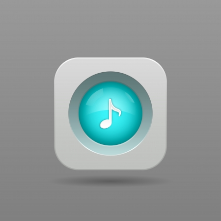 Music Note Button - Vector App Icon Vector