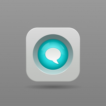 Speech Bubble Button - Vector App Icon Vector