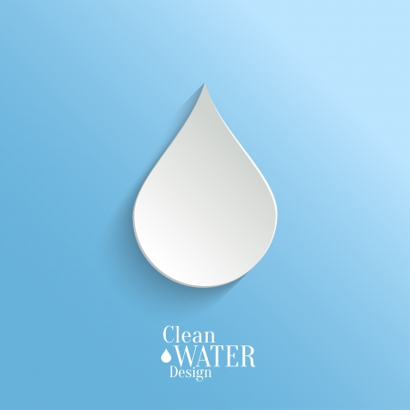 Abstract  Vector Paper Water Drop on Blue Background.  Eco Concept.