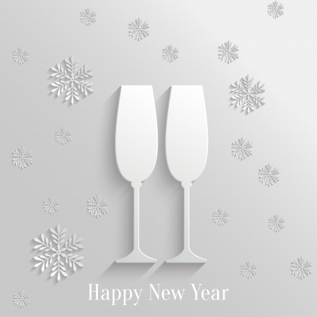 Abstract Background with Two Glasses of Champagne and Snowflakes Vector