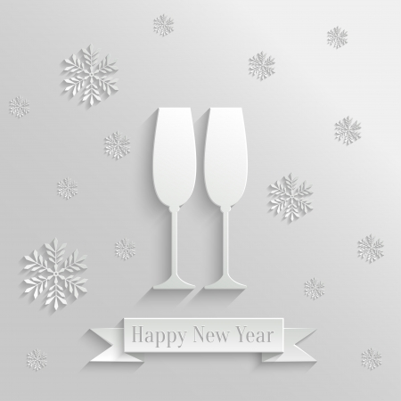 Abstract Background with Two Glasses of Champagne and Snowflakes