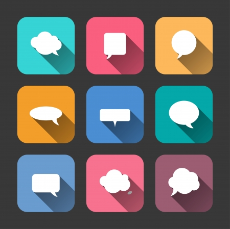 Speech Bubbles  Icons Set in Flat Style with Long Shadows Vector