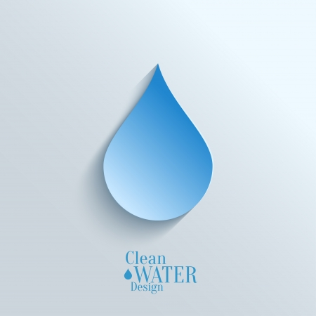 Abstract  Vector Paper Water Drop on Blue Background.  Eco Concept. Vector