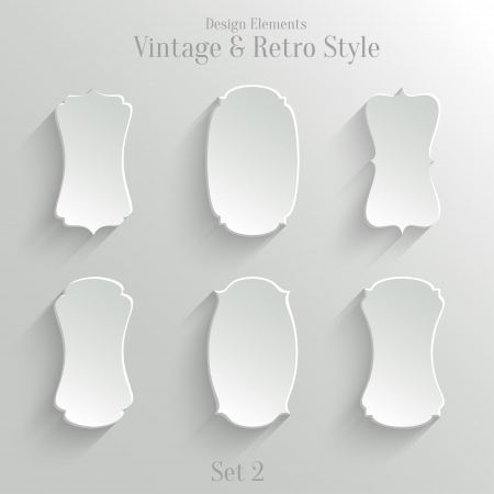 Collection of white paper banners in vintage and retro style. Set 2 Vector