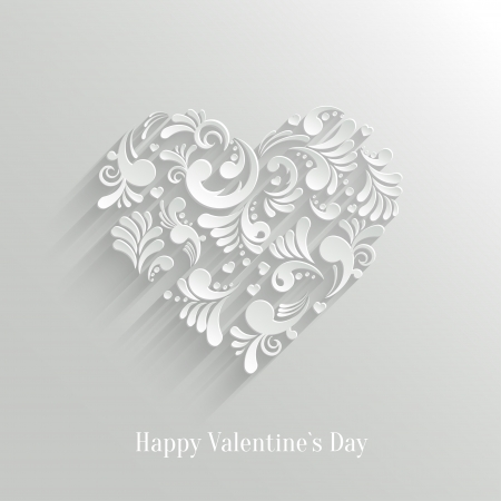 14 february: Absrtact Floral Christmas Tree Background. Valentine`s Day Card. Trendy Design Template Illustration