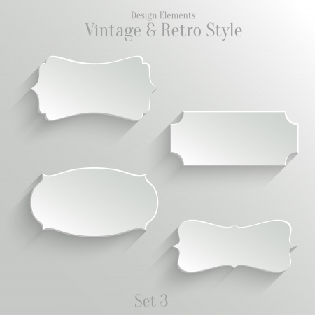 Collection of white paper banners in vintage and retro style. Set 3 Vector