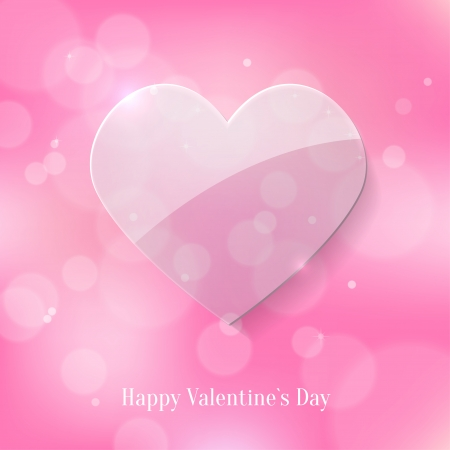 Glass Heart on Pink Bokeh Background  Valentines Day Card Vector