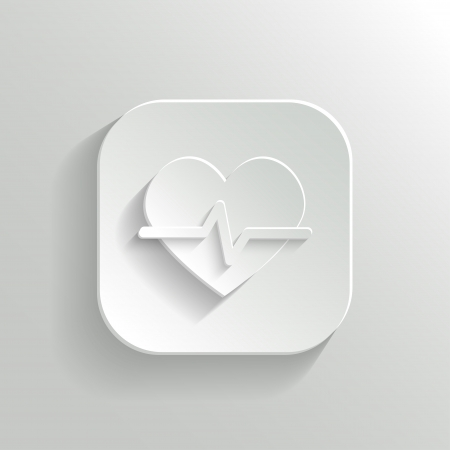 Cardiology icon - vector white app button with shadow