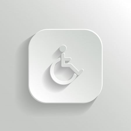 disabled parking sign: Disabled icon - vector white app button with shadow