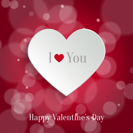 Speech Bubble. White Paper Heart With Shadow On Red Bokeh Background. Valentine's day Background