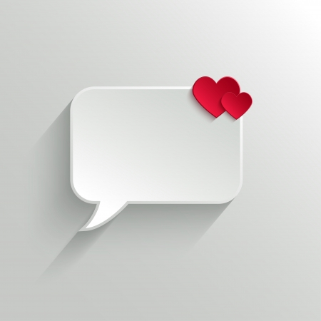 White Paper Speech Bubble With Red Hearts. Valentines day Background Illustration