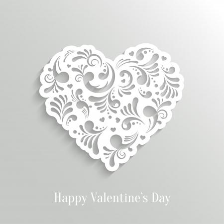 Absrtact Floral Heart  Background. Valentine`s Day Card. Trendy Design Template Illustration