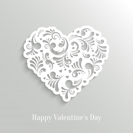 Absrtact Floral Heart  Background. Valentine`s Day Card. Trendy Design Template Ilustracja