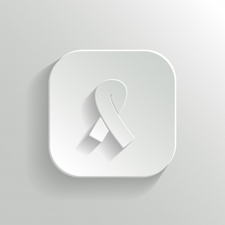 Breast Cancer Icon - Vector White Button with Shadow Vector