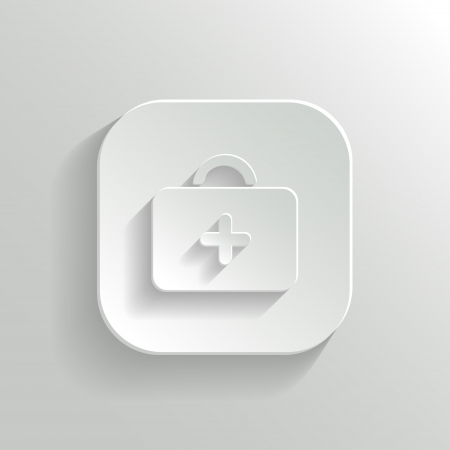 first aid kit: First aid. Medical Kit icon - vector white app button with shadow Illustration