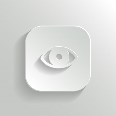 eye doctor: Eye icon - vector white app button with shadow Illustration