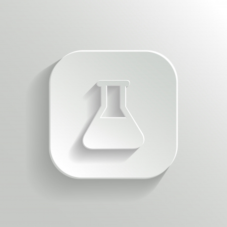 pharmacology: Laboratory equipment icon - vector white app button with shadow