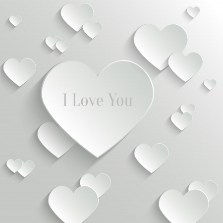 Abstract White with Paper Hearts
