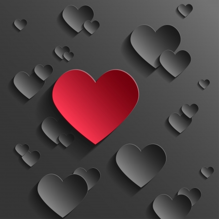 kalp: Özet Sevgililer Günü kavramı. Kırmızı Kağıt Siyah Hearts Kalp Standing Out. Çizim