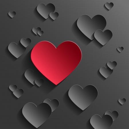 ロマンス: バレンタインの日に抽象的な概念。赤い紙のハート黒心から外に立っています。