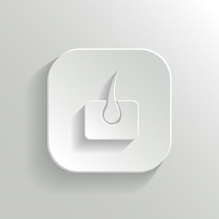 dry skin: Stomach icon - vector white app button with shadow