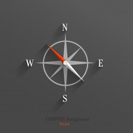 kompas: Abstract icon vector kompas se stínem přes tmavé pozadí