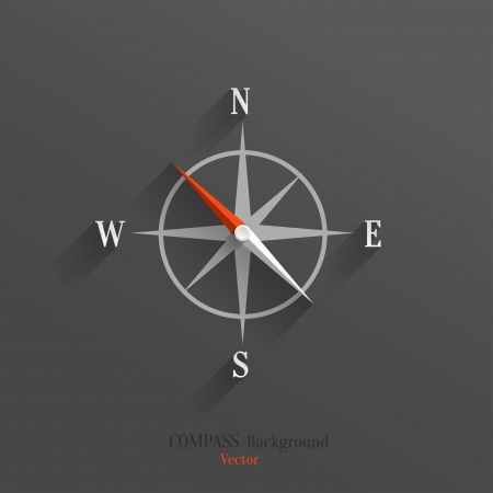 Abstract vector compass icon with shadow over dark background