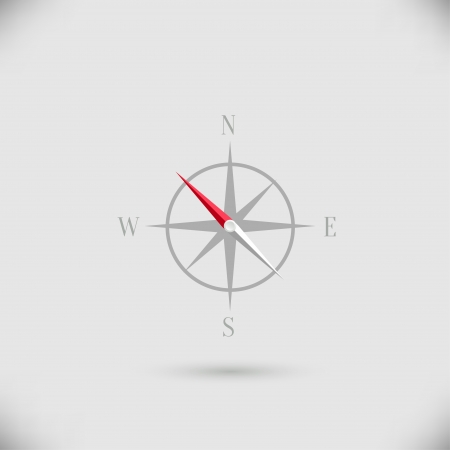 windrose: Abstract vector compass icon with shadow over light background