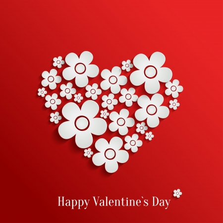 3d flower: Abstract vector heart of white flowers on red background. Valentines day card Illustration