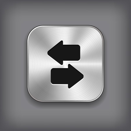 Synchronization icon - vector metal app button with shadow Vector
