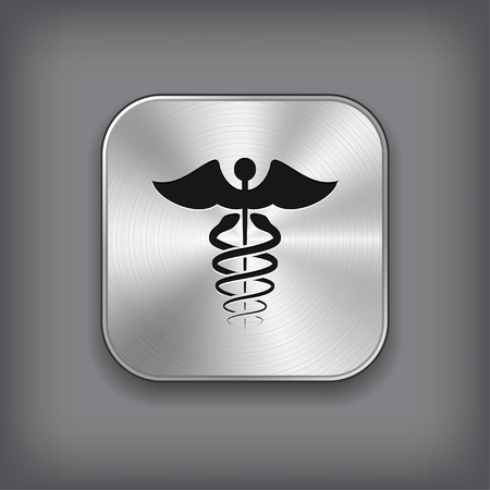 Caduceus Medical Symbol Icon - Vector Metal App Button with Shadow Vector