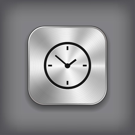 Clock icon - vector metal app button with shadow Vector