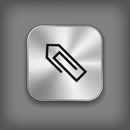 office buttons: Paper clip icon - vector metal app button with shadow