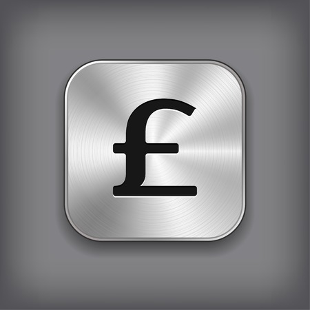 Pound icon - vector metal app button with shadow Vector