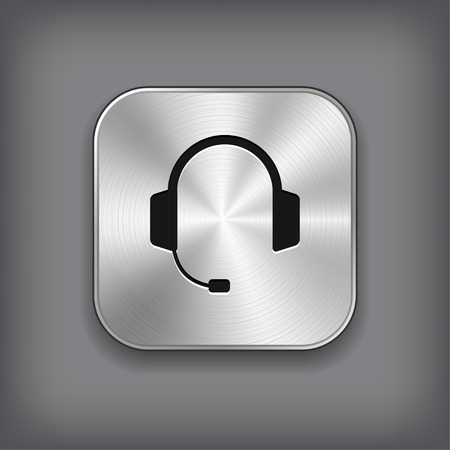 call center icon: Headphones with microphone icon - vector metal app button with shadow