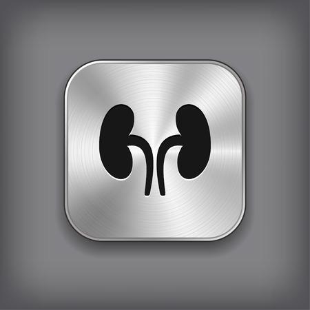 Nieren pictogram - vector metalen app knop met schaduw Vector Illustratie