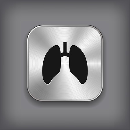 Lungs icon - vector metal app button with shadow Vector