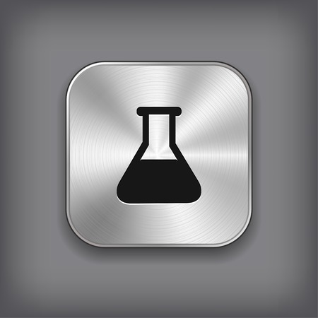 laboratory equipment: Laboratory equipment icon - vector metal app button with shadow