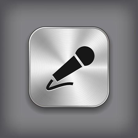 Microphone icon - vector metal app button with shadow Vector