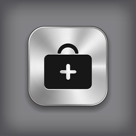 First aid. Medical Kit icon - vector metal app button with shadow Vector