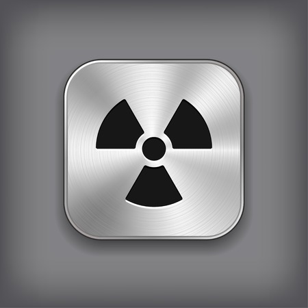 isotope: Radioaktivity icon - vector metal app button with shadow Illustration